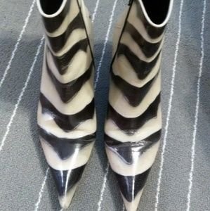 Casadei Zebra Stripped Leather Ankle Boots